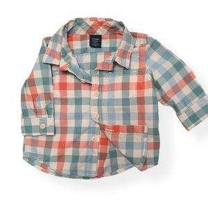 Baby Gap plaid blue & orange button down shirt
